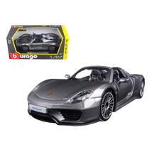 Porsche 918 Spyder Gray 1/24 Diecast Model Car by Bburago 21076gry - $31.73
