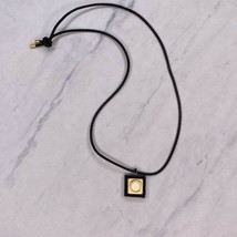 Vintage Designer Karl Lagerfeld Circle Pendant Necklace on Black Cord - $37.91