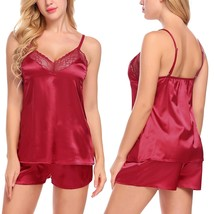 Women Lace Sleepwear Satin Pajama Cami Shorts Set Nightwear - $39.95