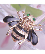 Cute Yellow Insects Bee Corsages Black Enamel Champagne Crystal Brooches... - $19.29