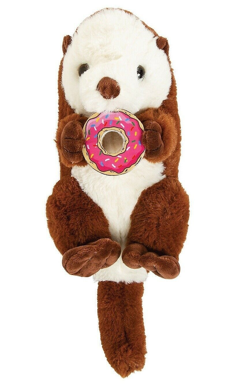 "12"" Stuffed Otter with Donut (Brown) Fun Plush Animal, American River Otter  image 3"