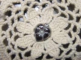 Vintage Sterling silver enameled puffy heart charm- BLACK pansy - $29.00