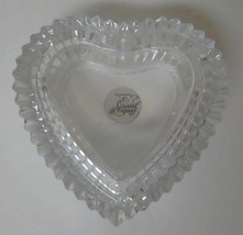 Cristal d'Arques Heart Shaped Lead Crystal Jewelry Trinket Box Foil Label France - $19.99
