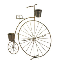 Metal Planters, Plant Stands With Wheels, Tall Old-fashioned Bicycle Pla... - $57.00