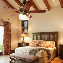 """52"""" Vintage Ceiling Fan Light w/Remote Control Reversible Blades Home In... - $187.10"""