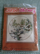 "1978 Sunset WINTER SNOWFALL Crewel Embroidery SEALED Kit #2474 - 16"" x 16"" - $11.88"