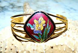 Vintage Cloisonne  Enameled Cuff Bracelet with  Flower Pattern wide - $12.19