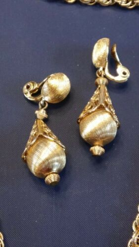 1960's Monet Gold Tone Bolero Runway Book Piece Necklace And Clip On Earrings