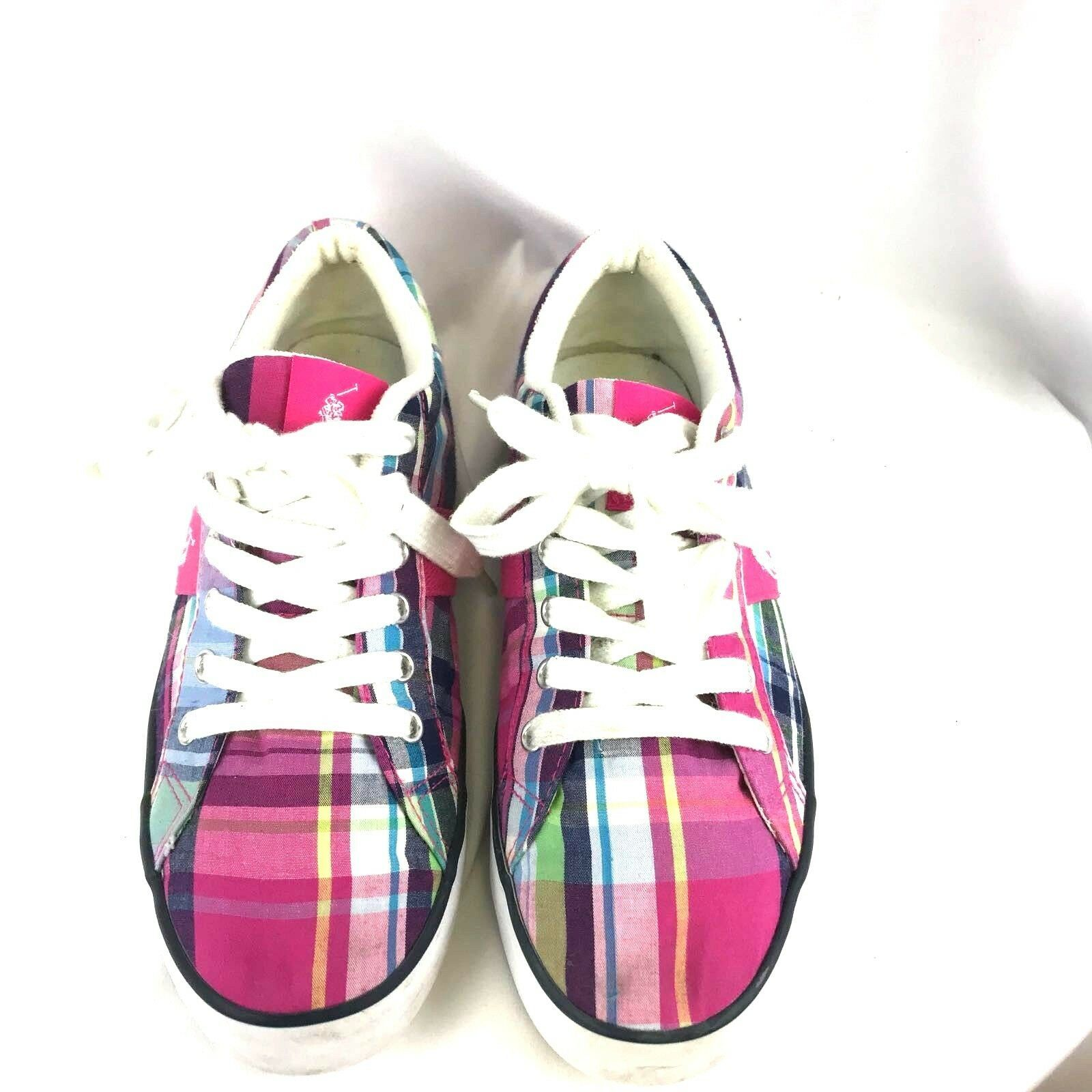 Polo Ralph Lauren Women's Fashion Sneakers PLaid Pink Purple 6 US Lace Up - $42.65 CAD