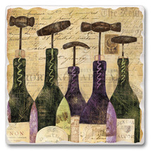 Absorbent Tumbled Stone Square Tile Tuscan Trivet Chianti Classico Wine ... - $18.99