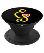 E - Monogram Cell Phone Grip Holder for Hand Yellow E Purple- PopSockets... - $15.00