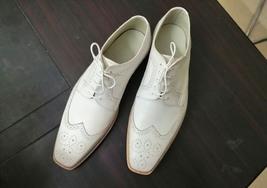 Handmade Men's White Leather Wing Tip Heart Medallion Dress/Formal Oxford Shoes image 1