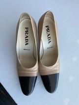 PRADA Cream & Black Pumps Heels 37.5 - $95.49