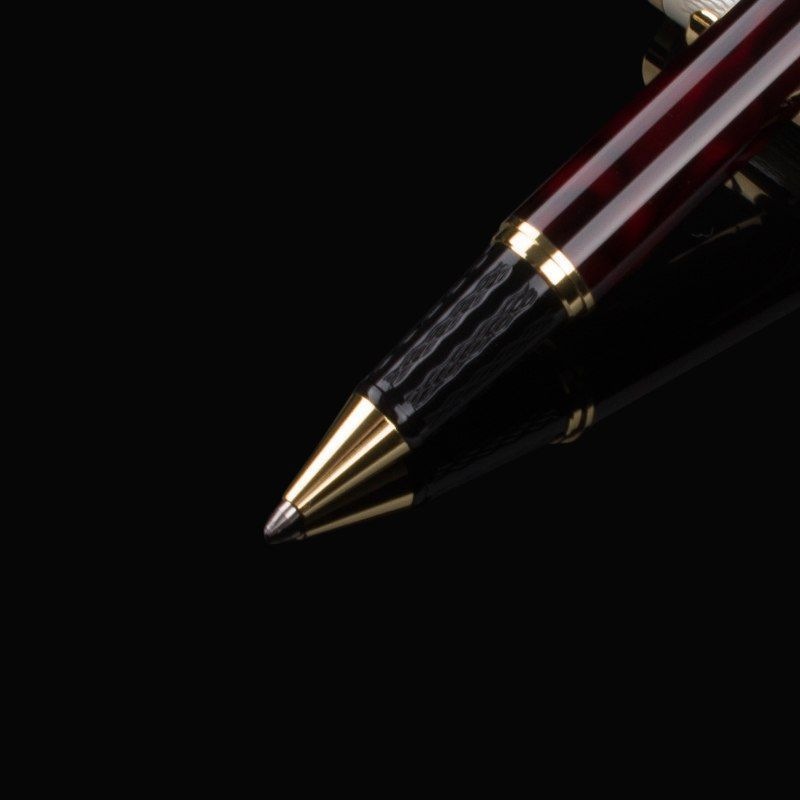 DIKA WEN 821 Luxury Black Red & White Stainless Business Office Roller Ball Pen