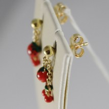 18K YELLOW GOLD PENDANT KIDS EARRINGS GLAZED CHERRY STRAWBERRY MADE IN I... - $137.60