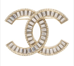 AUTHENTIC CHANEL CC Gold Crystal LARGE Logo Iconic PIN BROOCH