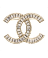 AUTHENTIC CHANEL CC Gold Crystal LARGE Logo Iconic PIN BROOCH - $439.99