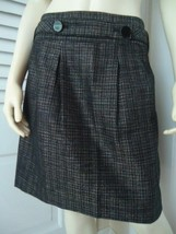 ANN TAYLOR PETITES Sz 10P Skirt Mini Pleated Cotton Blend Tweed Belt Poc... - $49.47