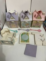 Vtg lot Fisher Price Precious Places dollhouses lights keys pink purple Parts - $49.45
