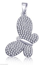 Butterfly Design Pendant 925 Sterling Silver With Pave Set Cubic Zirconi... - $48.37