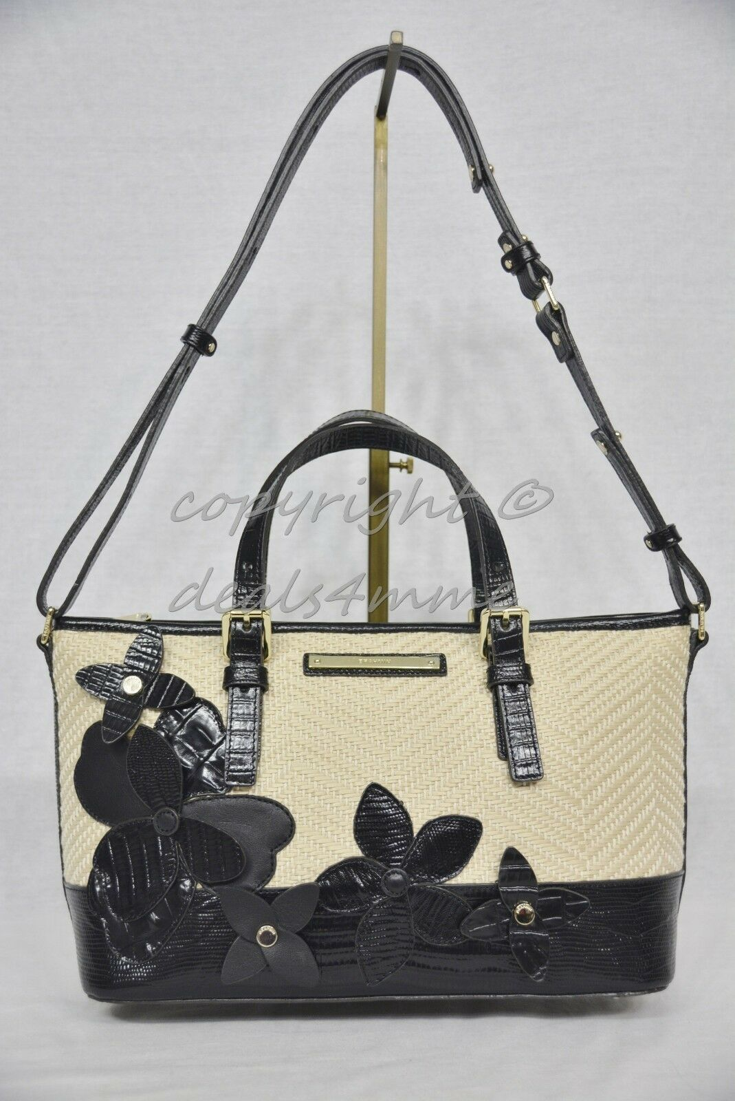 NWT Brahmin Mini Asher Satchel/Shoulder Bag in Black Miramonte-Cream with Black image 10