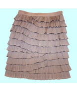 GRACIA TAN BEIGE TIERED PLEATED RUFFLES PENCIL KNEE LENGTH SKIRT M 6 8 D... - $21.99