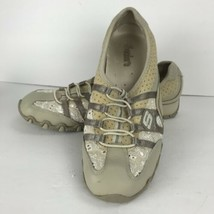 Skechers Beige Lace Eyelet Leather Walking Slip on Shoes Sneakers Sz 8 1/2 - $24.74
