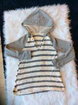 Hoodie Charcoal Cream Striped Pullover Boutique Long Sleeve Top M Womens... - $16.82