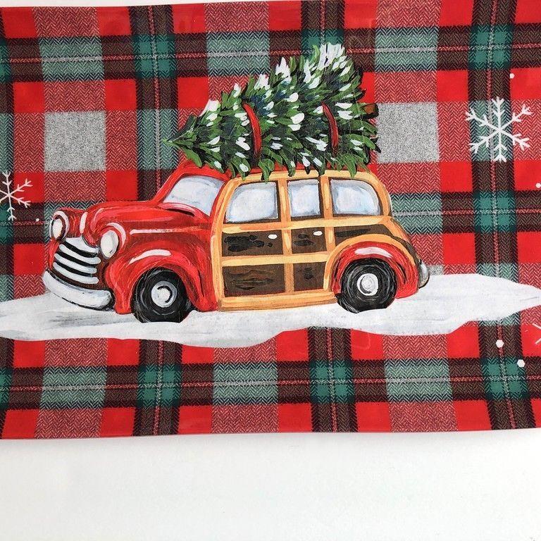 """Christmas Station Wagon Tree Melamine Serving Platter Tray 6.75""""x14.75"""" Plaid"""
