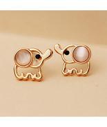 Valentine's Day, Gold Elephant Stud Earrings White Cat Eye stone Opal ea... - $1.99