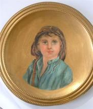 Antique Victorian Portrait Painting On Concave Brass Dish Child In Bonne... - $67.32