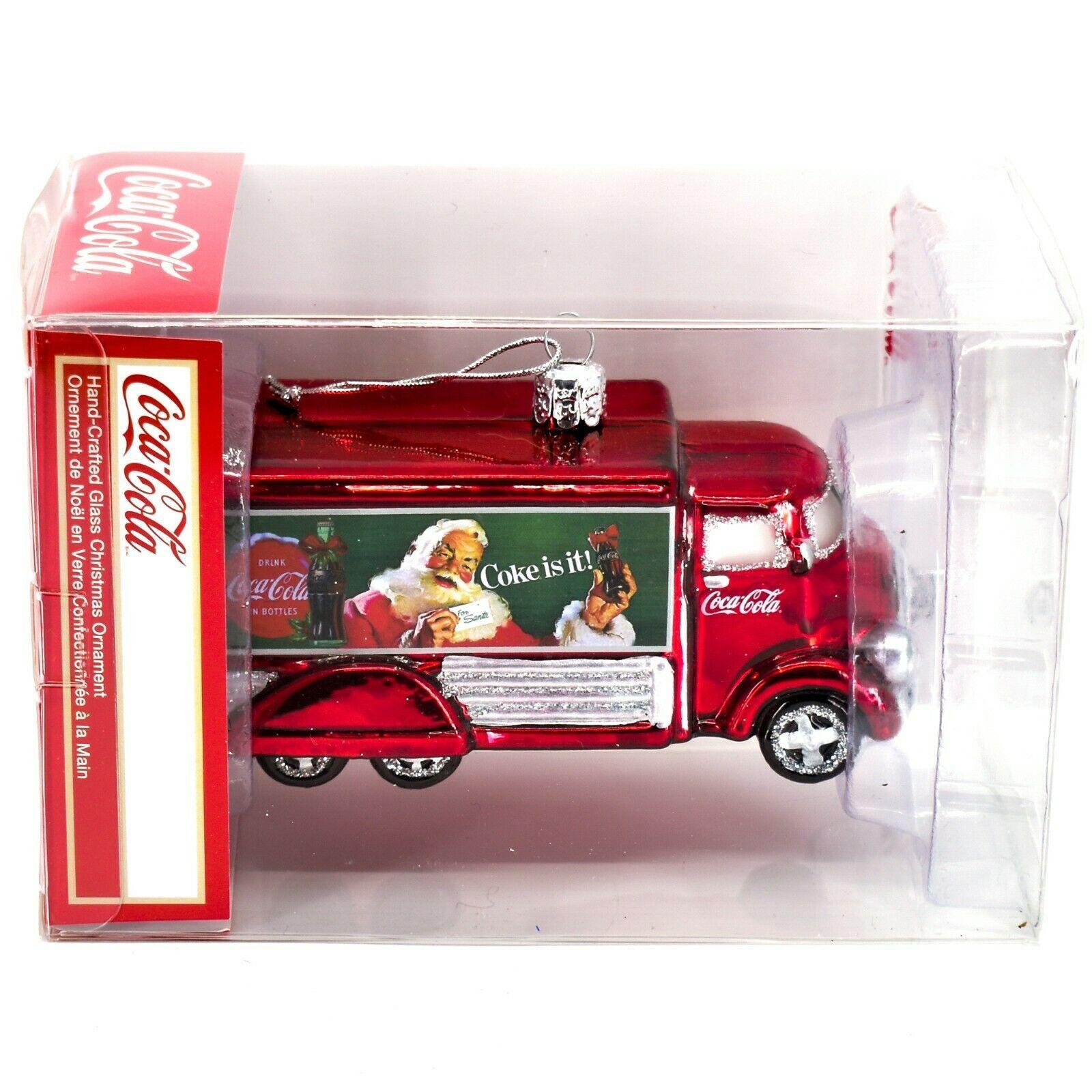 Kurt S Adler Coca-Cola & Santa Delivery Truck Hand-Crafted Glass Ornament CC4151