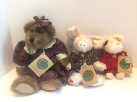 Boyds Bears Ethel B Bruin Teddy Kaitlin McSwine Pig Monterey Mouski Plush Lot - $27.69