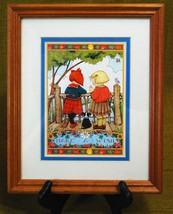"Mary Engelbreit Framed Wall Hanging Art Print ""Made A Wish"" 2 Girls Wood Frame image 2"