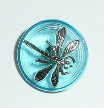 Small Beautiful Aqua Blue Czech Glass Silver Colored Dragonfly Shank But... - $5.69