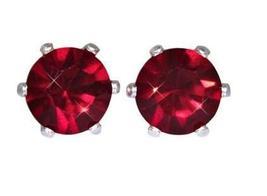 Swarovski Crystal Stud Earrings : Siam Ruby in Sterling - $14.99