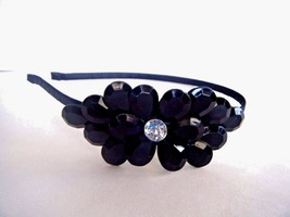 Women's Black Plastic Headband Black And Clear Faceted Stones New With Tag - $9.85