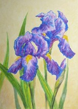 IRISES, Original painting by Akimova, flower, still life, purple - $17.00