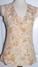 Talbots 100% Silk Tan/Ivory Watercolor Floral Ruffle Shirt/Blouse 6 S Small - $17.99