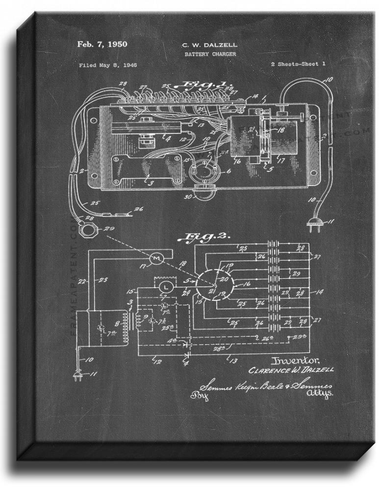 Primary image for Battery Charger Patent Print Chalkboard on Canvas