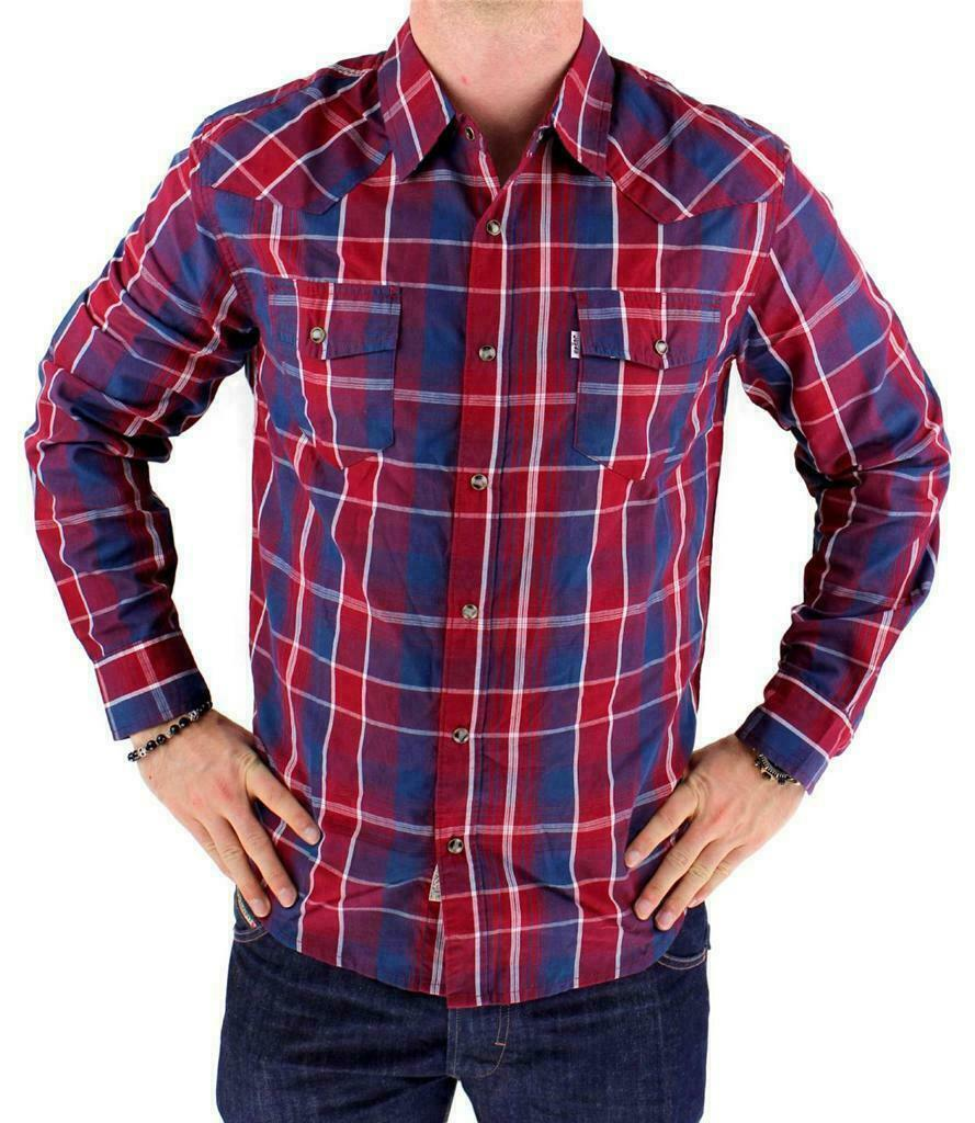 Levi's Men's Long Sleeve Button Up Casual Dress Shirt Red 3LYlW0042
