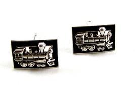 Silvertone Train Locomotive Smoke Stack Cufflinks by Shield - $27.99