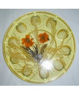 MCM Acrylic Lucite Dried Flowers Grasses Weaved Baskets Design Egg Plate... - $24.95