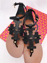 Tory Burch Phoebe Flat Thong Sandals Black Leather Miller Logo - $220.99