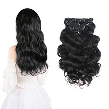 "14"" Body Wave Real Clip in Hair Extensions #1B 100g Natural Black 8pcs/s... - $33.29"