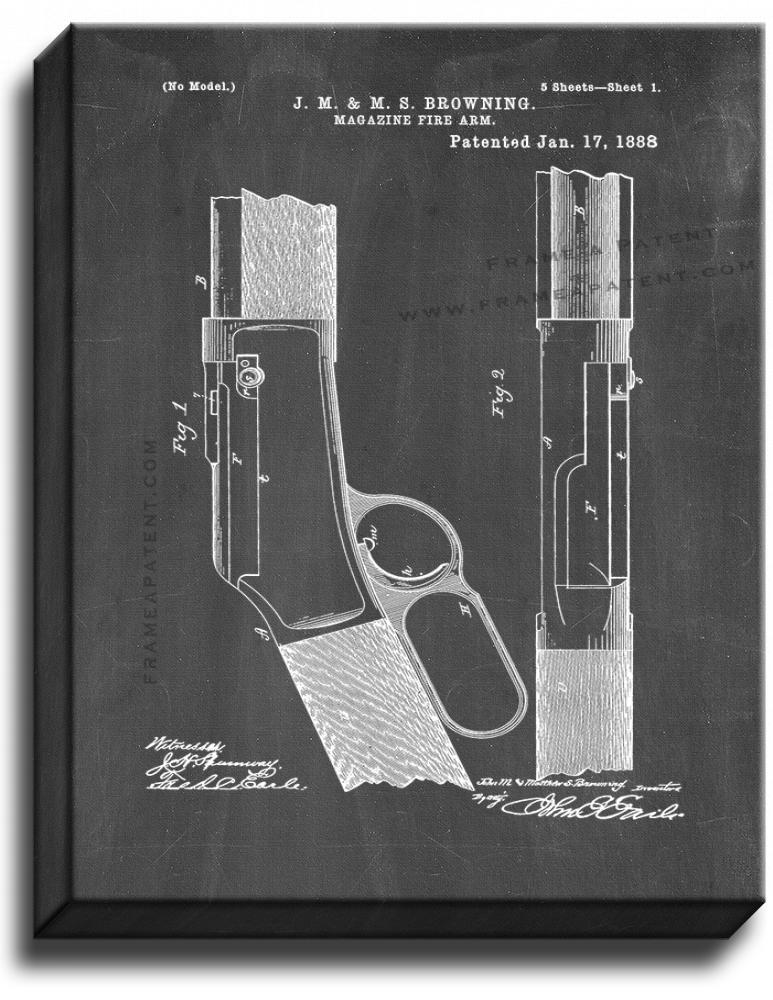 Primary image for Rifle Patent Print Chalkboard on Canvas