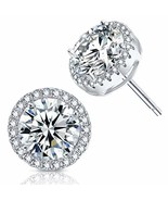 18K Platinum-Plated Cluster Round Cut Stud Earrings 1.66cttw - $16.07