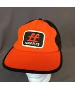 Vintage FF Farm Friends Patch SnapBack Hat Orange Black Cap Made in USA ... - $32.85