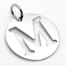 18K WHITE GOLD ROUND MEDAL WITH INITIAL M LETTER M MADE IN ITALY DIAMETER 0.5 IN image 2