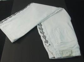 Vintage Ralph Lauren Jeans Co Womens 8P White Denim Pants Beaded Geo Tribal Side - $25.00